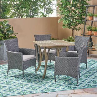 Bungalow Rose Lincolnwood Outdoor 5 Piece Dining Set with Cushions