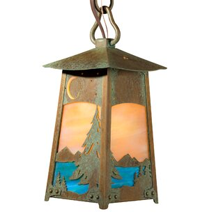 Millwood Pines Walthall Spruce and Lake Chain Mount 1-Light Lantern Pendant