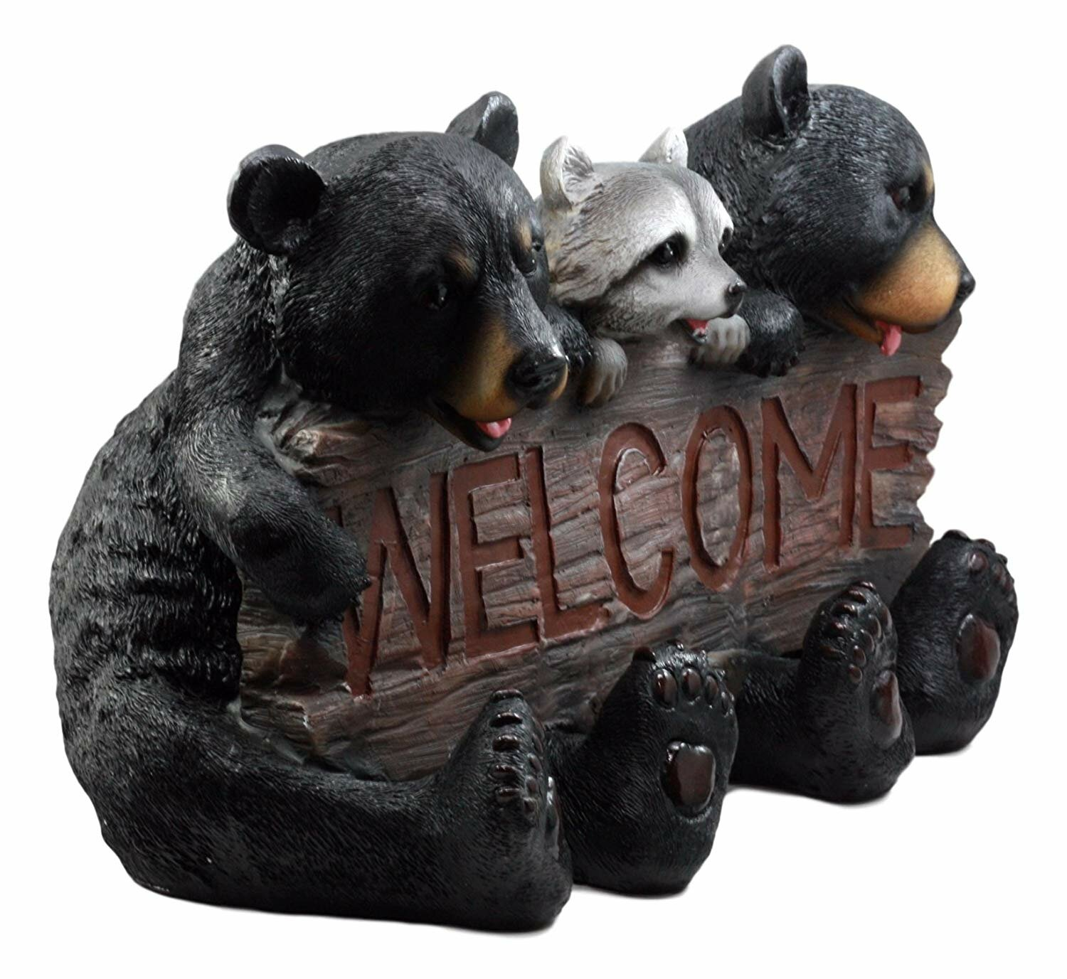 Millwood Pines Huntleigh Forest Welcome Sign Bears And Racoon Garden Greeter Outdoor Statue Wayfair