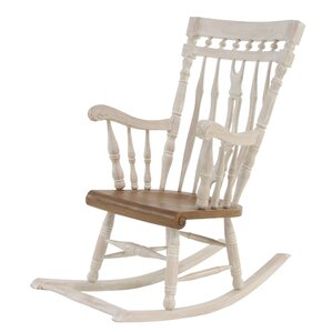 One Allium Way Letizia Traditional Mahogany Wood Rocking Chair Image