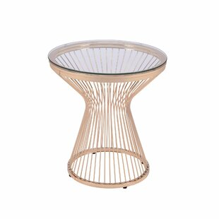 Schofield Glass Top Pedestal End Table by Everly Quinn