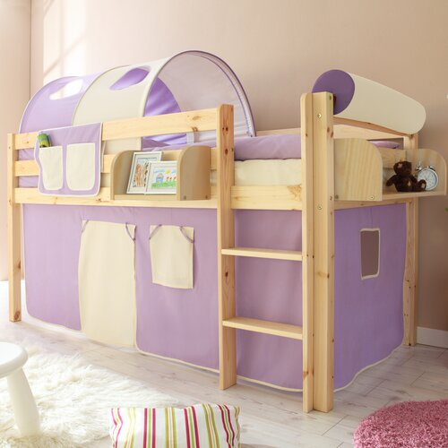 Hochbett Malte mit Vorhang  90 x 200 cm | Kinderzimmer > Kinderbetten > Hochbetten | Natur | Baumwolle - Massivholz | TICAA