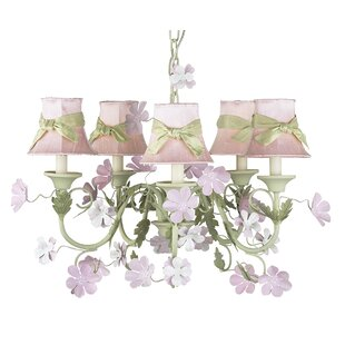 Pink Plain Chandelier Shade With Green Sash Set Of 2