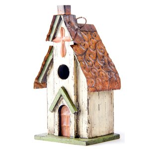 Church Hanging 12 in x 7 in x 5 in Birdhouse