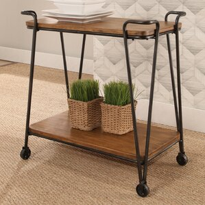 Roussillon Industrial Wood Iron 2 Tier Rolling Bar Cart by Gracie Oaks