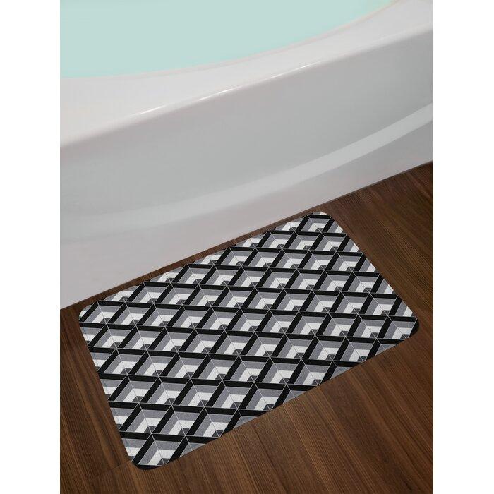 East Urban Home Grey And Black Bath Rug