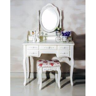 Ponticus 7 Drawer Vanity Set with Mirror