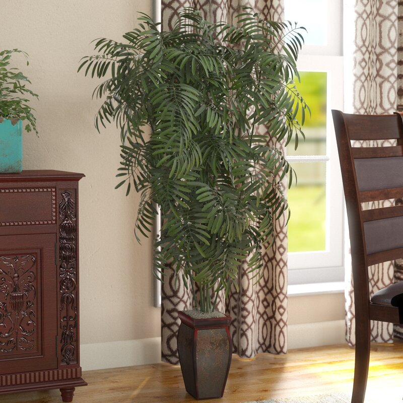 World Menagerie Mini Bamboo Palm Floor Plant In Decorative Vase