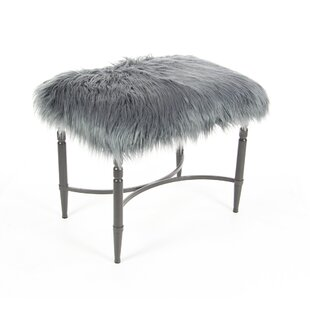 Hornsey Metal Faux Fur Accent Stool