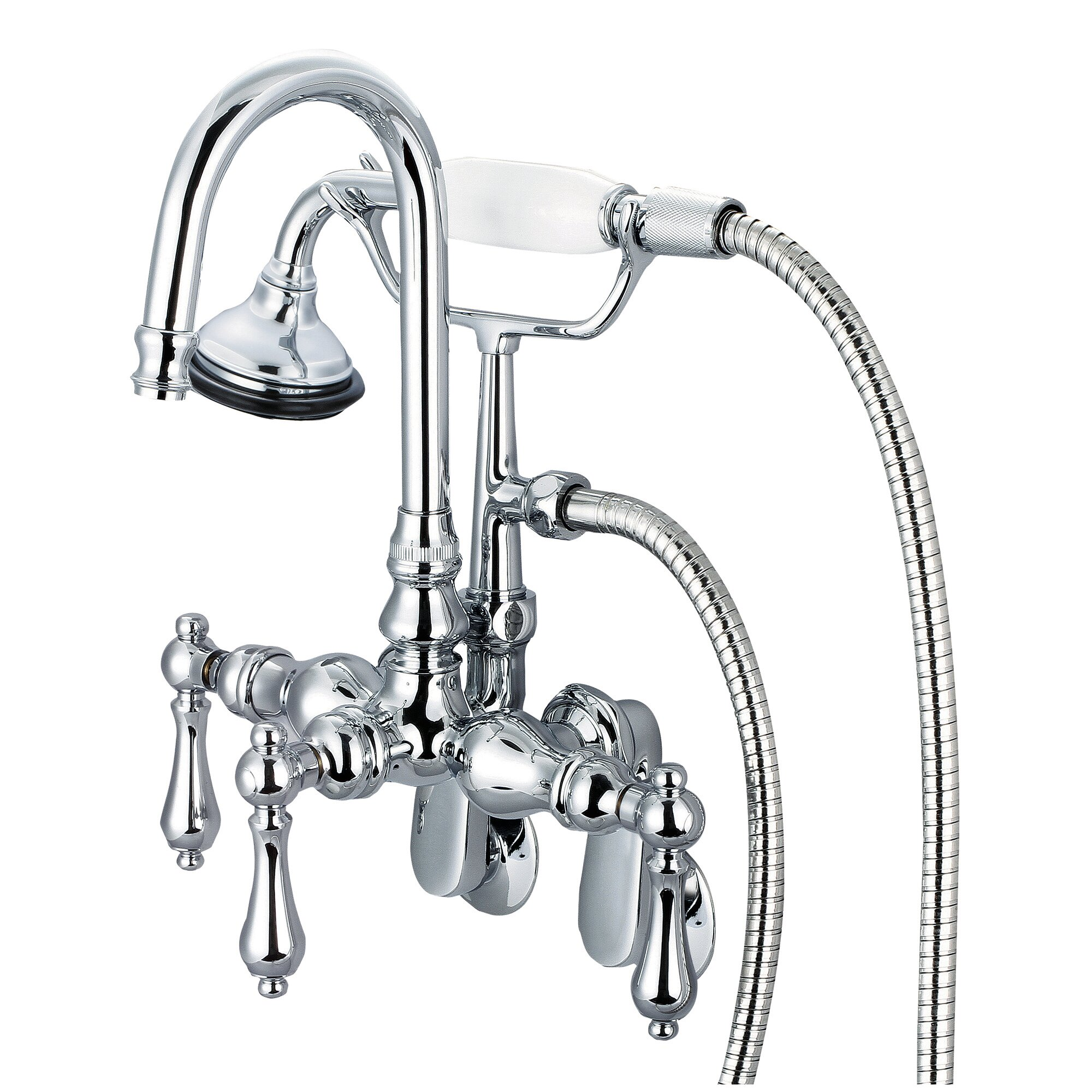 Stonington Adjustable Spread Wall Mount Tub Faucet With Gooseneck Spout Swivel Wall Connector Handheld Shower