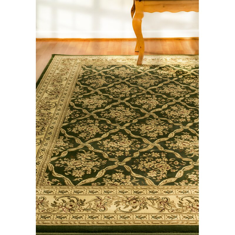 Astoria Grand Atterbury Oriental Power Loom Green Area Rug Wayfair