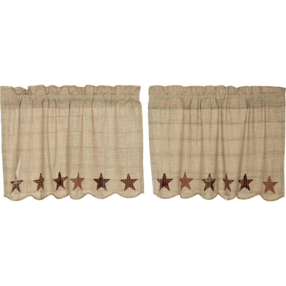 August Grove Lydia Cotton Scalloped Cafe Curtain In Grey Creme Tan Burgundy Dark Brown Reviews Wayfair