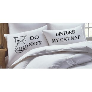2 Piece Cat Lover - Do Not Disturb My Cat Nap, His Hers Pillowcase Set