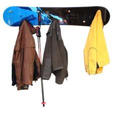 Snow Board Coat Rack with Wooden Peg by Ski Chair