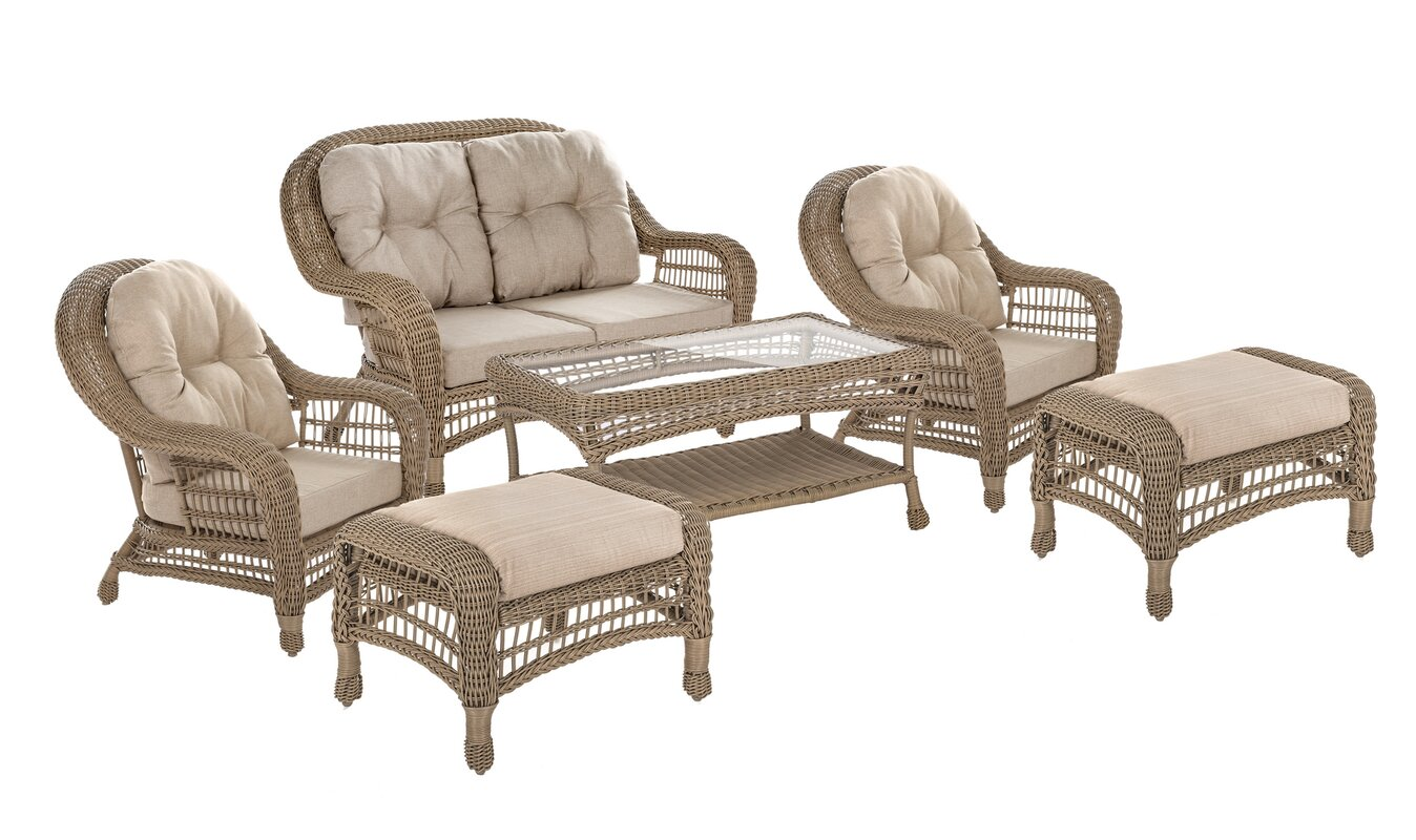 Bayou Breeze Viviana 6 Piece Rattan Sofa Seating Group with Cushions