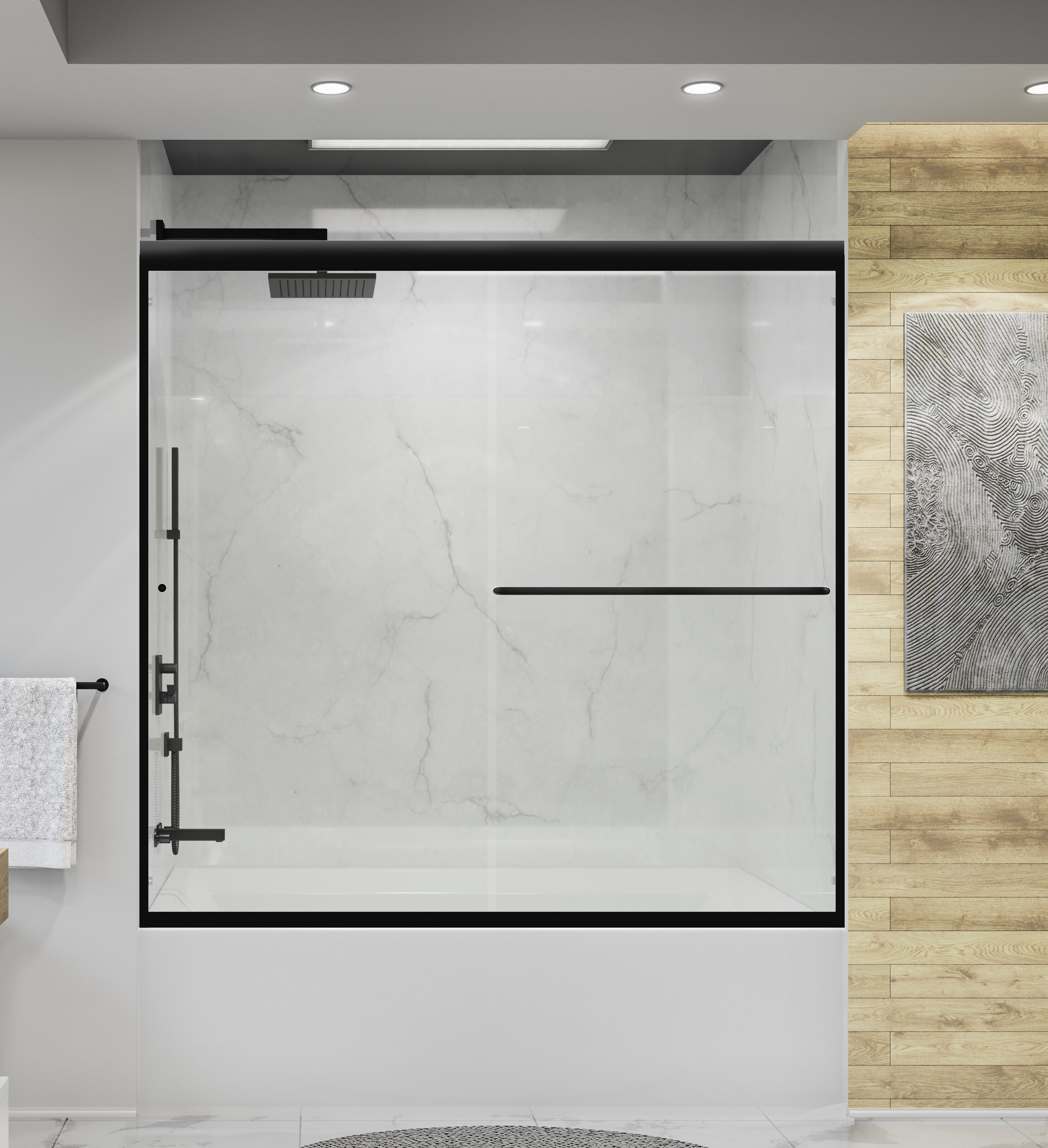 Holcam Distinctive 57 W X 58 5 H Bypass Frameless Tub Door Wayfair