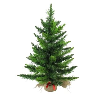 2 green balsam pine artificial christmas tree in burlap base - Rustic Artificial Christmas Tree