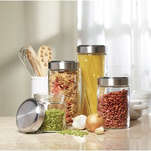 Glass 4 Piece Kitchen Canister Set