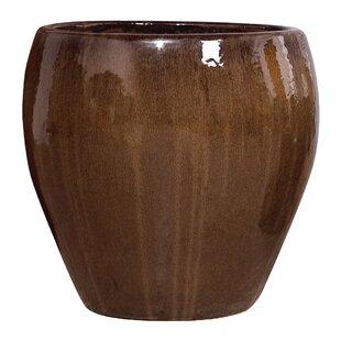 Beau Large Round Glazed Ceramic Pot Planter