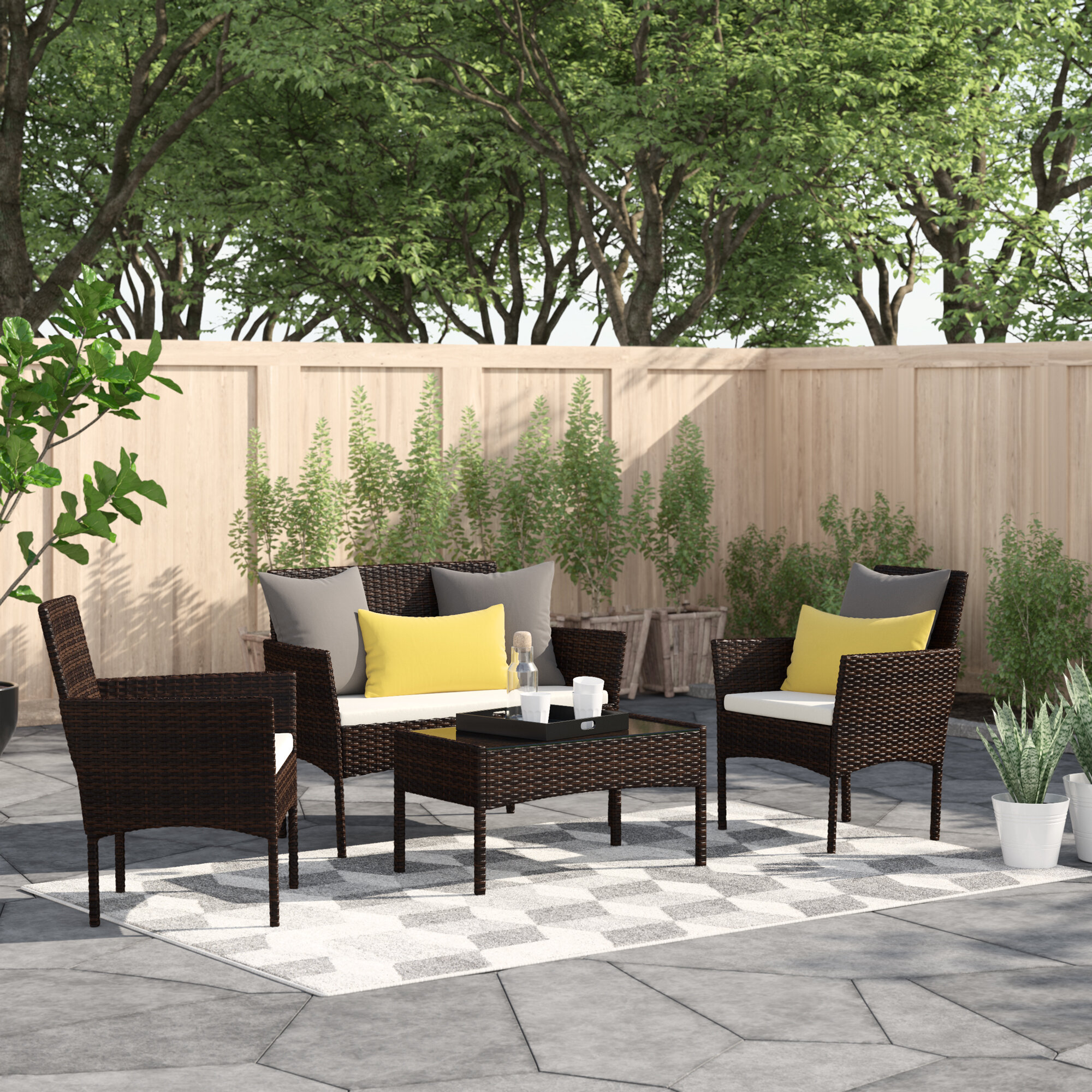 Zipcode Design™ Moro 4 Piece Rattan Sofa Seating Group with