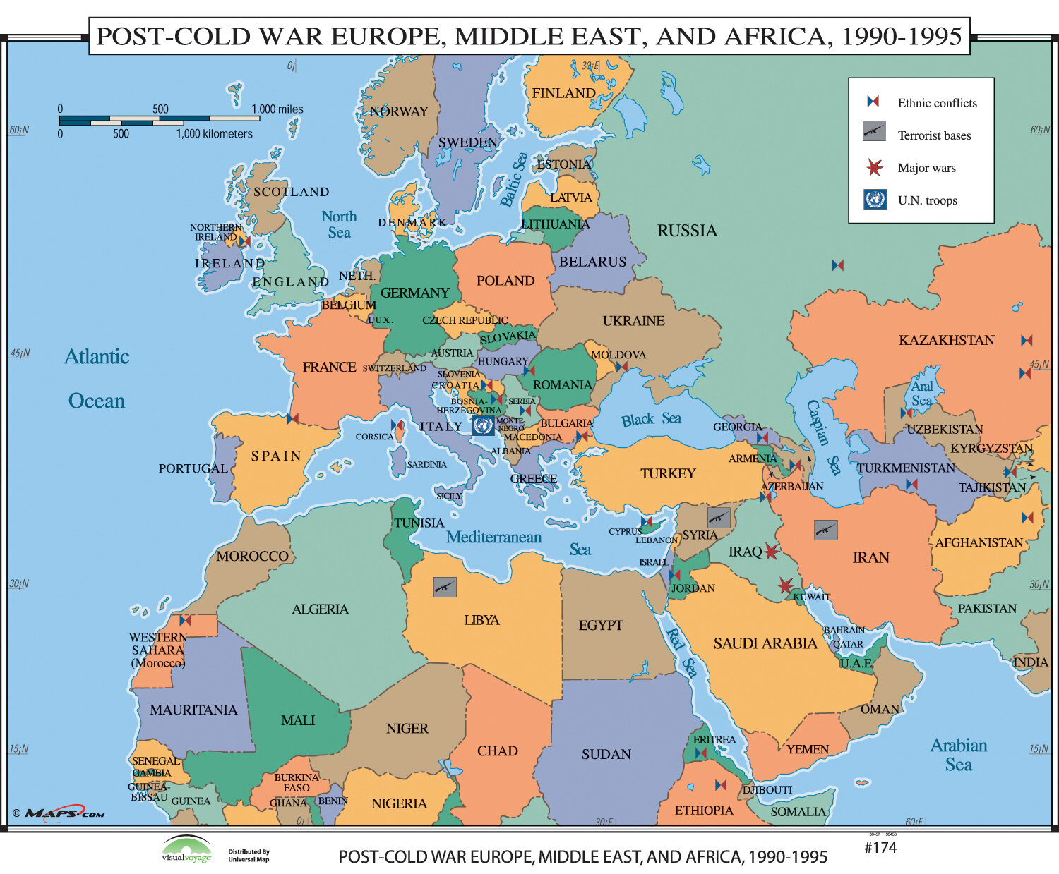 Universal Map World History Wall Maps Post Cold War Europe Middle