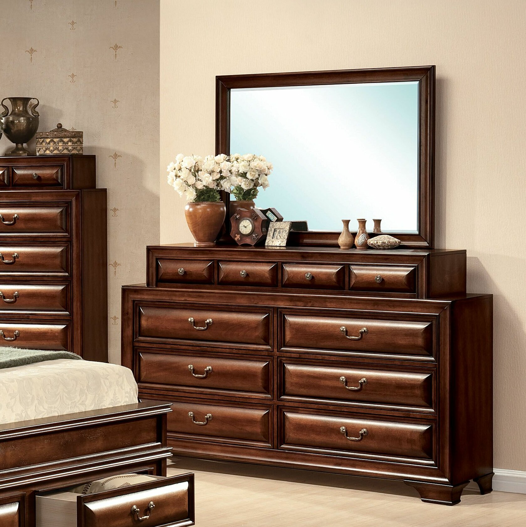 Canora Grey Mcnair 10 Drawer Double Dresser With Mirror | Wayfair