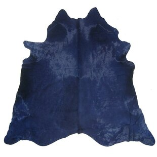Dyed Hand Woven Cowhide Blue Area Rug
