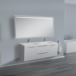 Shamrock 55 Wall-Mounted Double Bathroom Vanity Set with Mirror