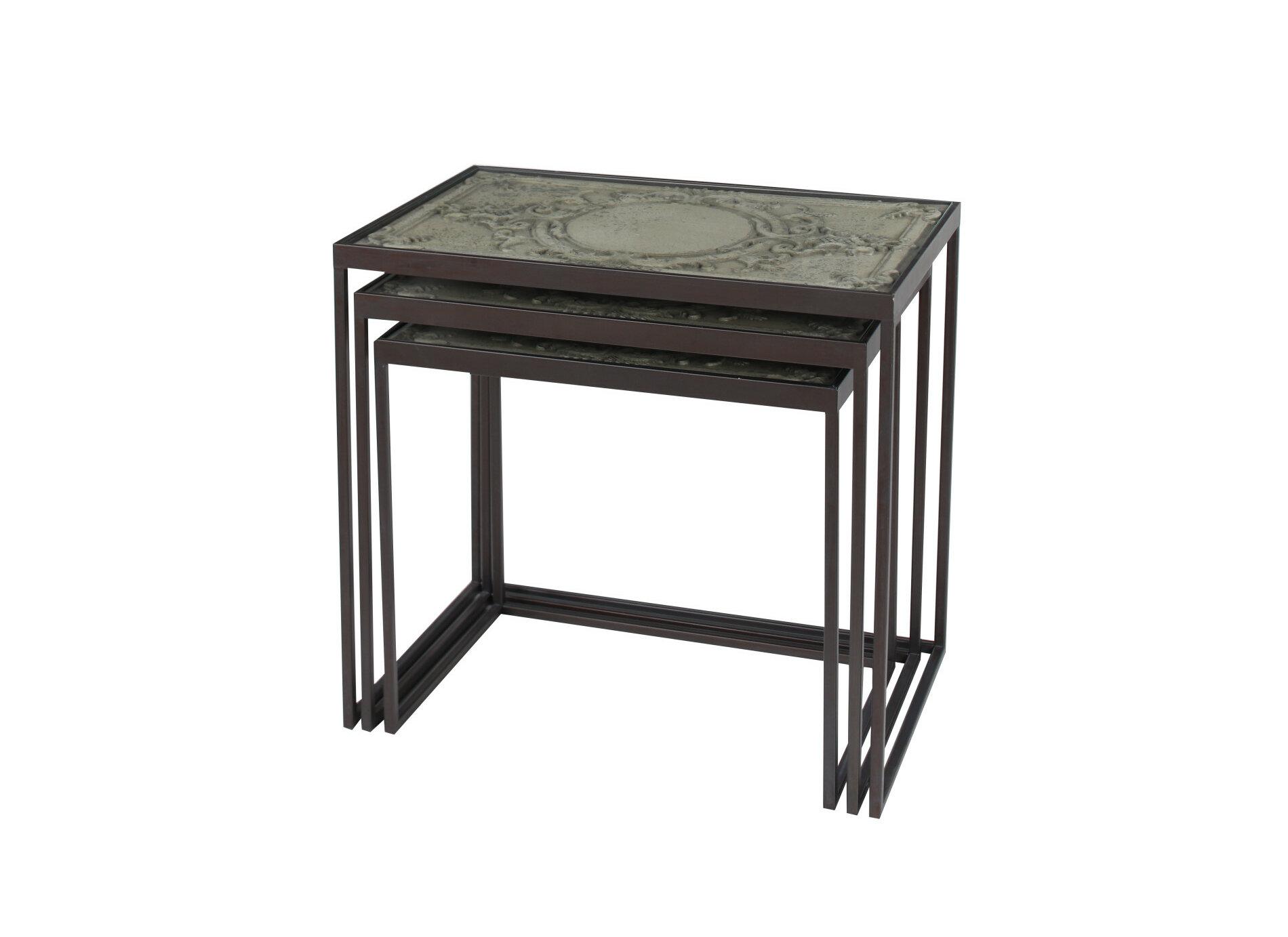 - Fleur De Lis Living Small Black Metal & Carved Vintage Grey Wood Nesting Accent  Tables Set Of 3 Wayfair.ca