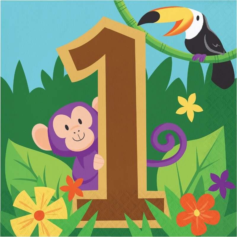 The Party Aisle Jungle Safari Happy 1st Birthday 6 5 Paper Disposable Napkins Wayfair