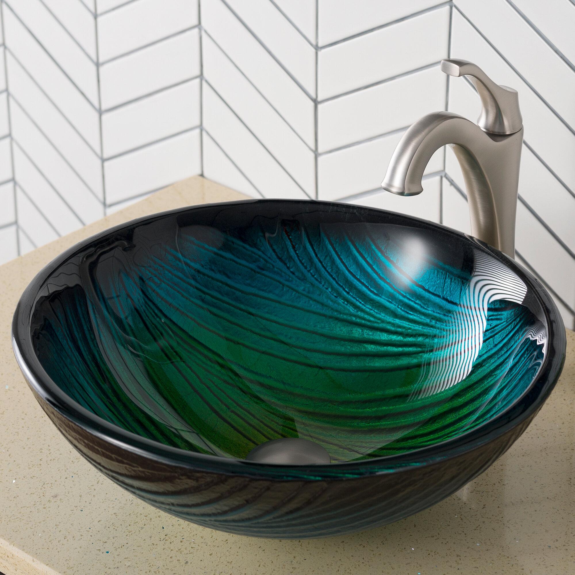 Kraus Nature Series Glass Circular Vessel Bathroom Sink With Faucet Reviews Wayfair