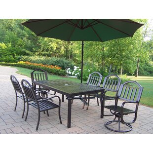 Lisabeth 7 Piece Swivel Dining Set with Umbrella