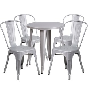 Latitude Run Aragon Metal Indoor/Outdoor 5 Piece Dining Set