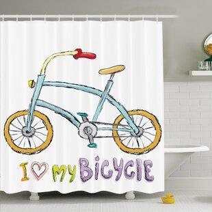 Myaa Kids Bike Love Shower Curtain Set