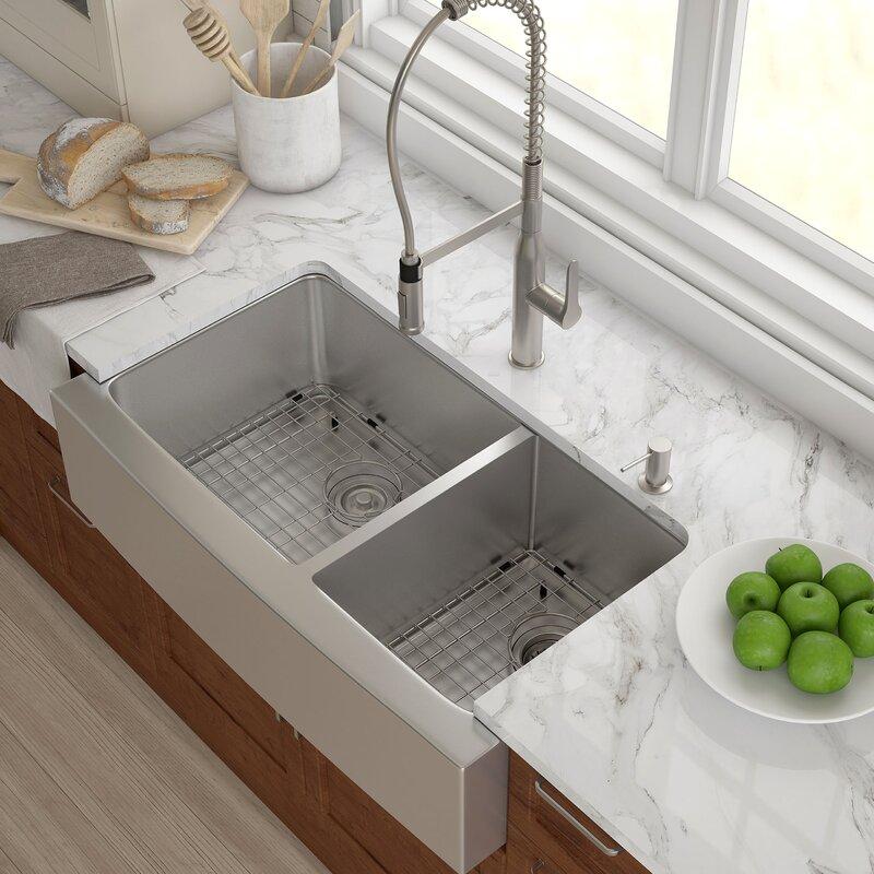 "Kitchen Sink kraus stainless steel 35.88""x 20.75"" double basin farmhouse"
