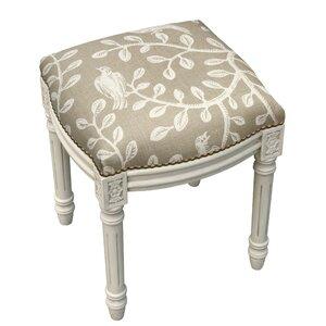 Birds and Vines Linen Upholstered Vanity Stool