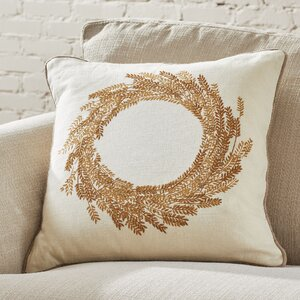 Wheat Wreath Embroidered Pillow Cover