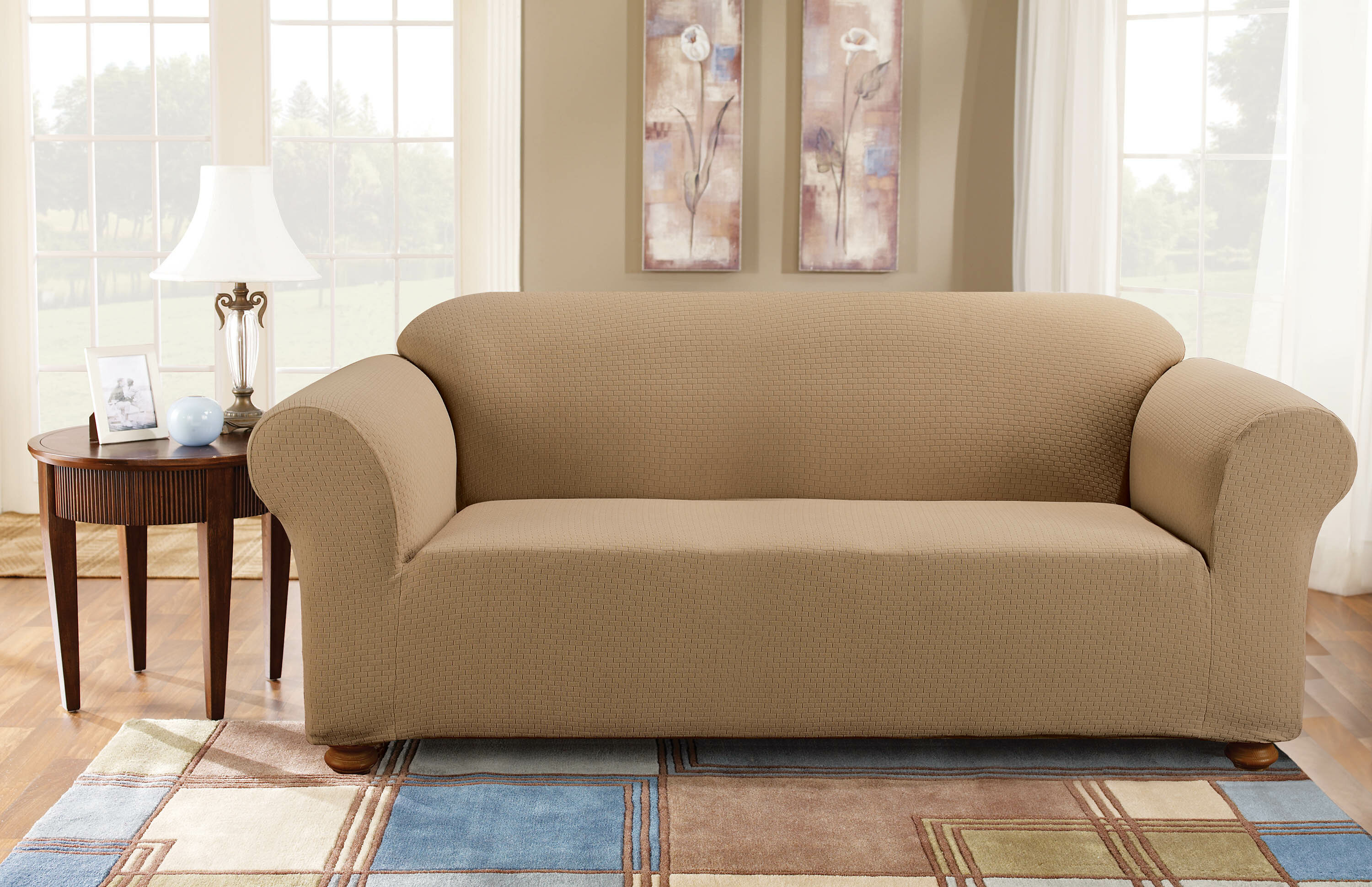 Terrific Simple Stretch Subway Box Cushion Sofa Slipcover Onthecornerstone Fun Painted Chair Ideas Images Onthecornerstoneorg