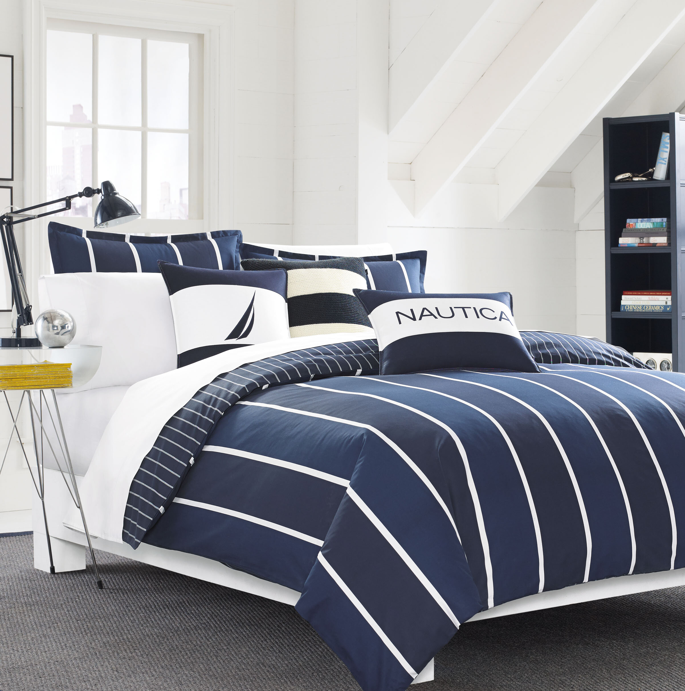comforter white and shipping king navy fairwater set nautical nautica overstock bedding free acac product today bath sets