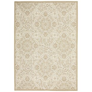 Presswood Geometric Beige Indoor/Outdoor Area Rug