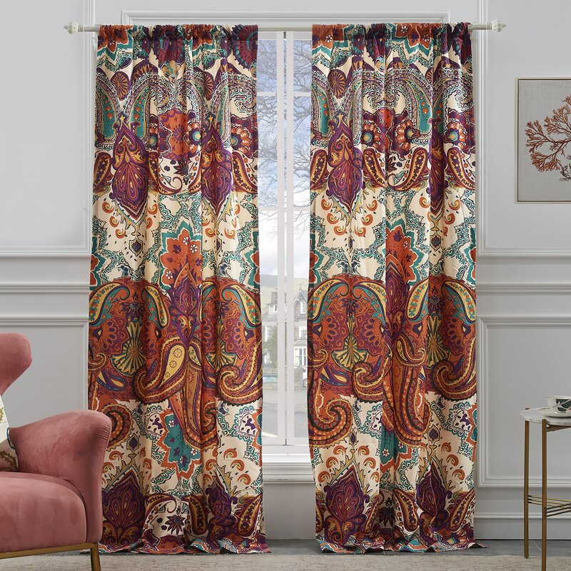 World Menagerie Roskilde Spice Paisley Semi-Sheer Curtain