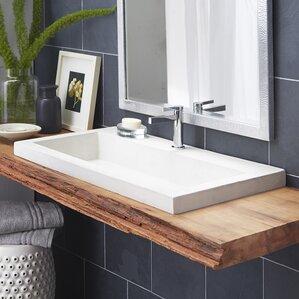 Trough Stone Rectangular Drop In Bathroom Sink