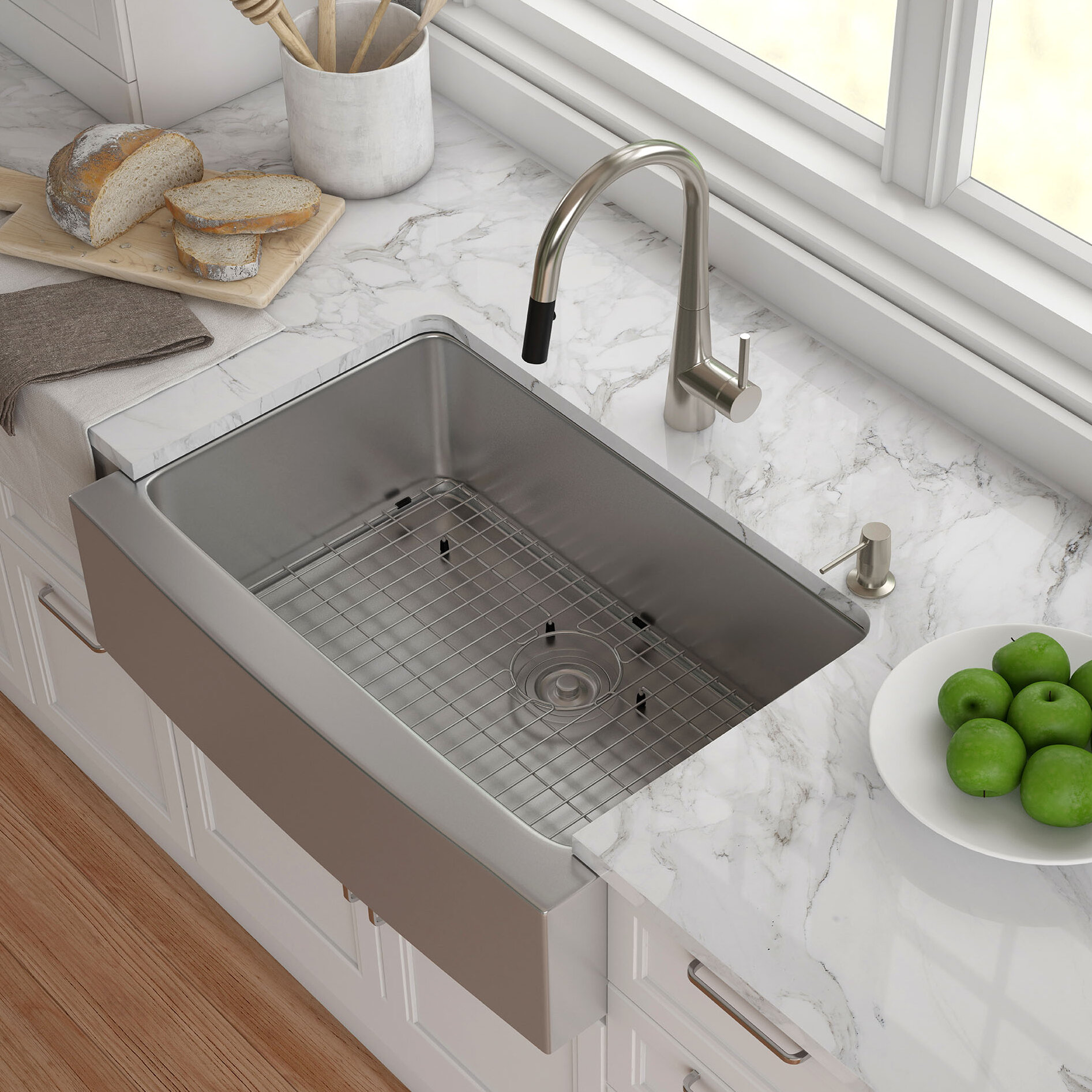 "30"" x 21"" Farmhouse Kitchen Sink with Drain Assembly & Reviews"