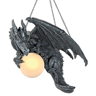 Design Toscano Nights Fury Sculptural Hanging Dragon 1-Light Novelty Pendant