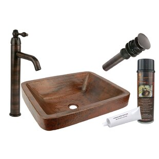 Read Reviews Skirted Metal Rectangular Vessel Bathroom Sink with Faucet By Premier Copper Products
