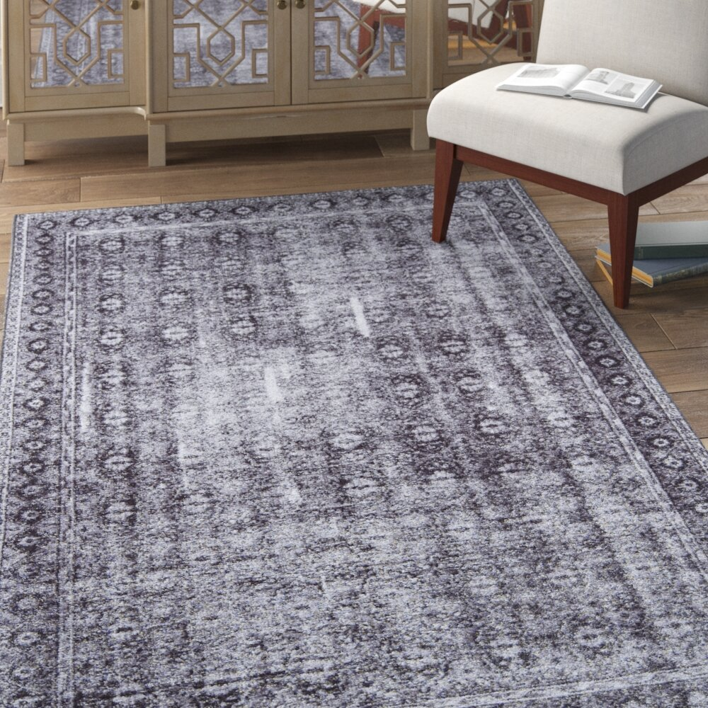 Bungalow Rose Varian Power Loom Ivory Dark Gray Area Rug Wayfair