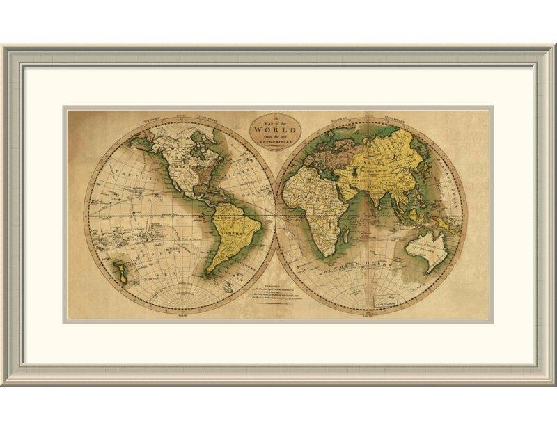 East Urban Home \'World Map\' Framed Print | Wayfair