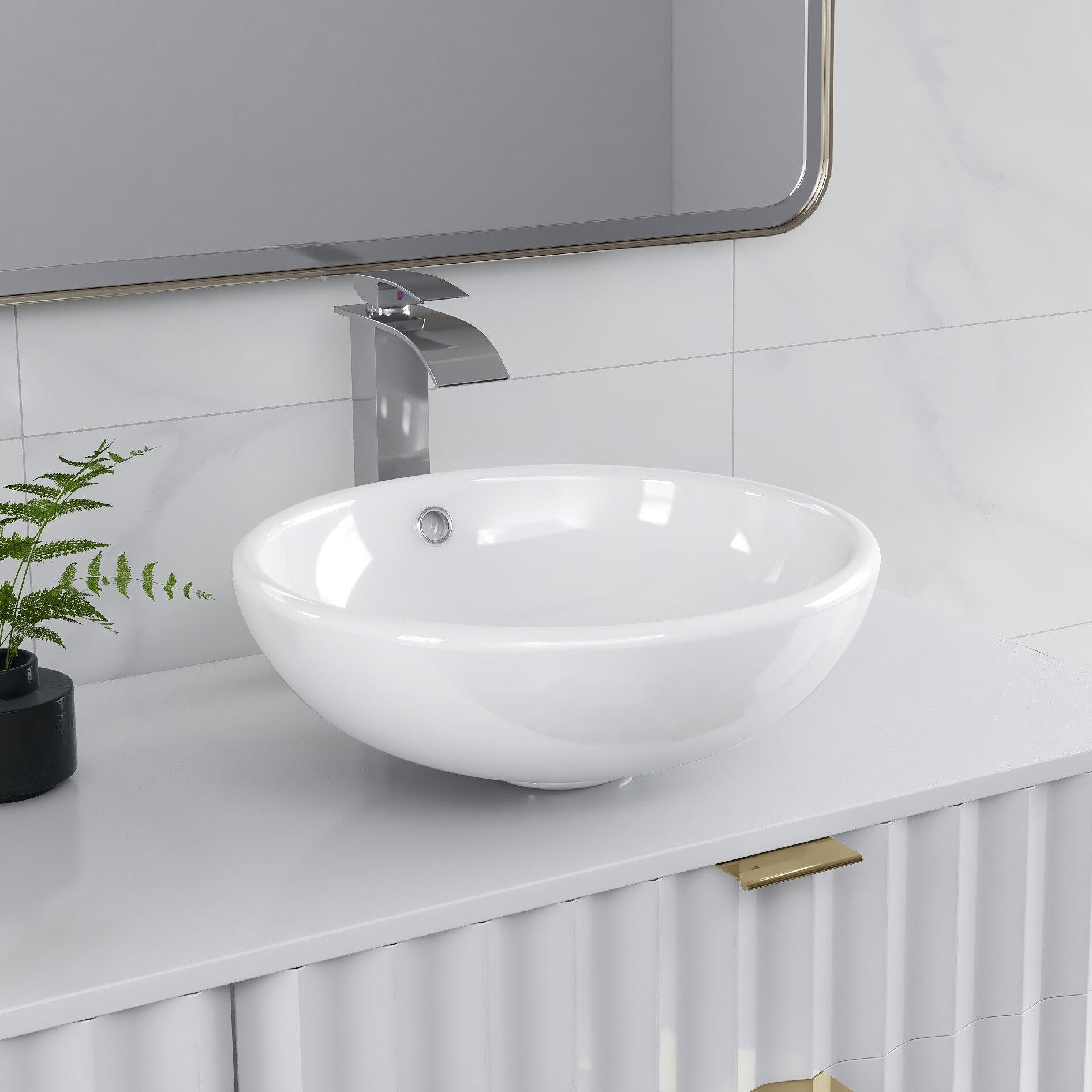 Deervalley White Ceramic Circular Vessel Bathroom Sink With Overflow Reviews Wayfair
