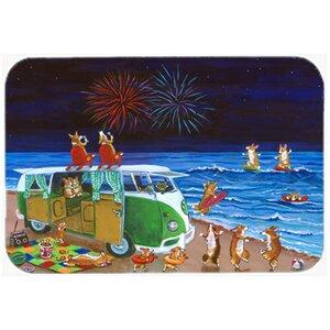 Corgi Beach Party Volkswagon Bus Fireworks Kitchen/Bath Mat