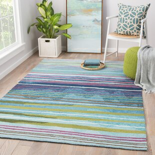 Minta Hand-Hooked Green Indoor/Outdoor Area Rug